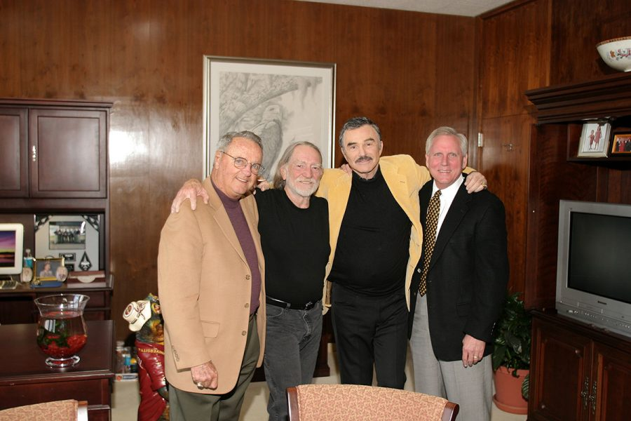 Coach Bobby Bowden with musician Willie Nelson, actor Burt Reynolds and former FSU president, T.K. Wetherell in 2006. (FSU Photography Services)
