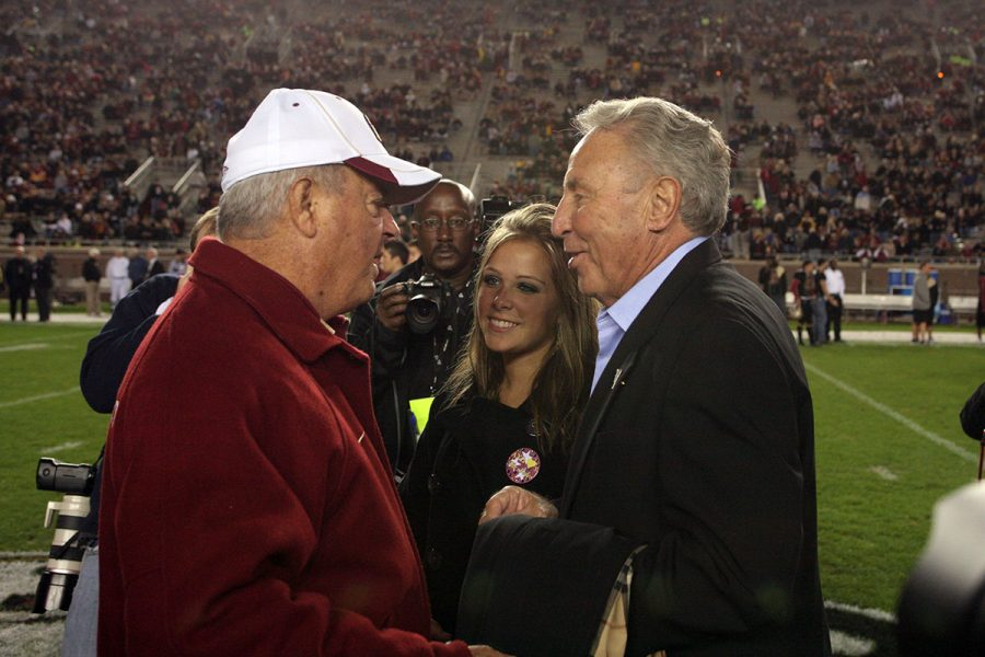 Coach Bobby Bowden talks with FSU alumnus and College GameDay personality Lee Corso before a game at Doak Campbell Stadium in 2008. (FSU Photography Services)