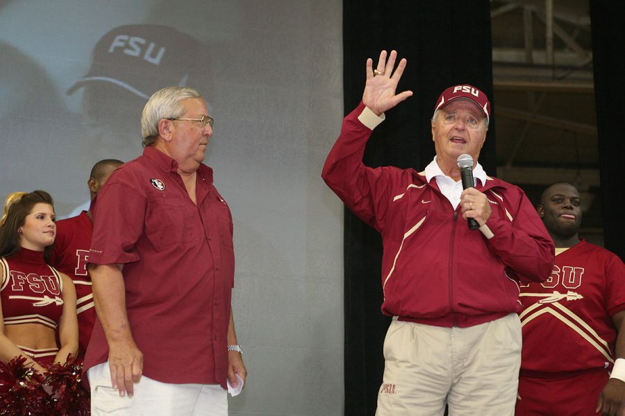 Coach Bowden fires up the crowd alongside Voice of the Seminoles Gene Deckeroff during a pep rally in 2009. (FSU Photography Services)