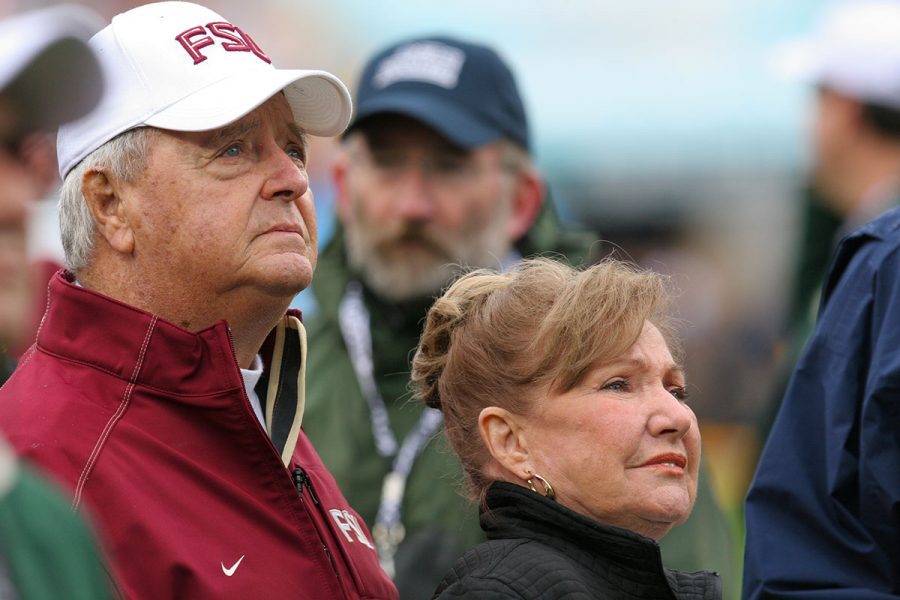 Coach Bowden and his wife, Ann, listen to the National Anthem before his final game at the Gator Bowl against West Virginia on Jan. 1, 2010. (FSU Photography Services)