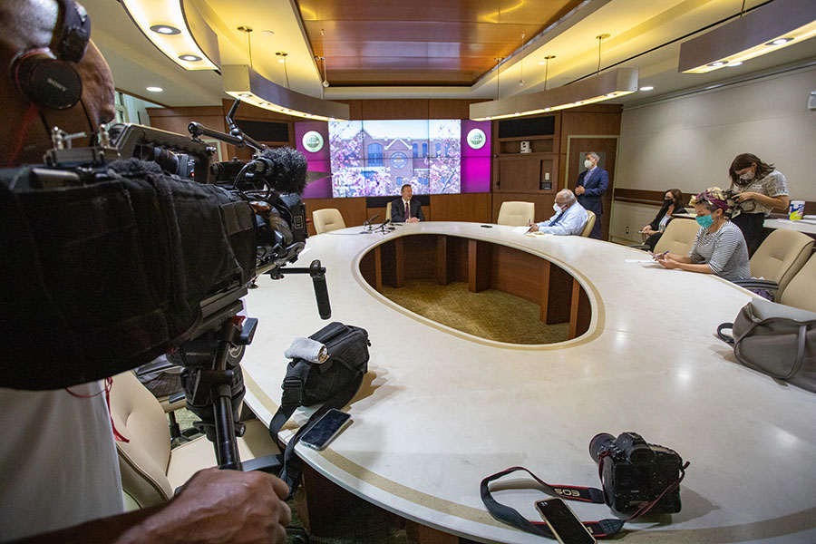 President Richard McCullough meets with the media during his first day as FSU's 16th president Aug. 16, 2021. (FSU Photography Services)