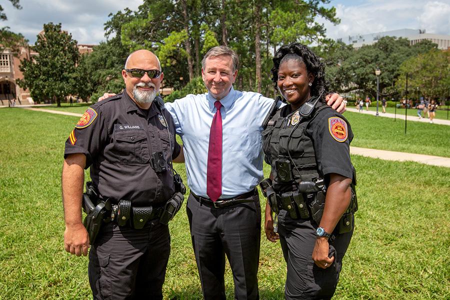 FSU President Richard McCullough with FSU Police Officers Aug. 23, 2021 (FSU Photography Services).