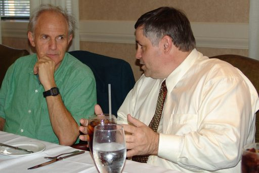 """Dean Larry Dennis (R) chats with renowned chemist Sir Harold """"Harry"""" Kroto (L), a Nobel Laureate who ended his career at FSU."""