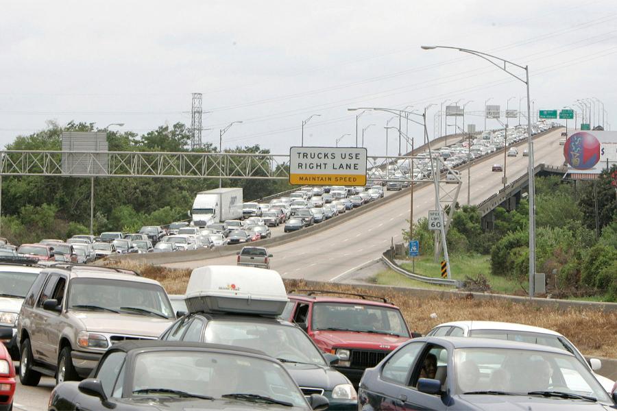 Drivers fleeing New Orleans ahead of Hurricane Katrina in 2005. (Mark Wallheiser)