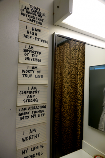 Bathroom wall used to support a therapy exercise by a formerly unhoused client in California.