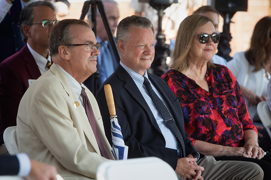 From left, FAMU-FSU College of Engineering Dean Murray Gibson, College of Arts and Sciences Dean Sam Huckaba and Provost Sally McRorie listen to remarks at the IRCB groundbreaking ceremony.