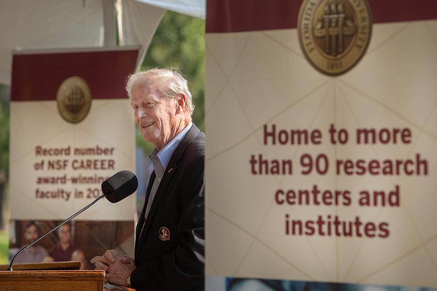 FSU President John Thrasher speaks at the IRCB groundbreaking, thanking the Florida Legislature for its support.