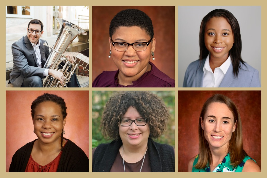 FSU's 2021-2022 McKnight Junior Faculty Fellows. Top row, left to right: Justin Benavidez, Arienne Ferchaud, Mackenzie Alston. Bottom row, left to right: Tisha Joseph Holmes, Laura Reid Marks, Jennifer Steiner.