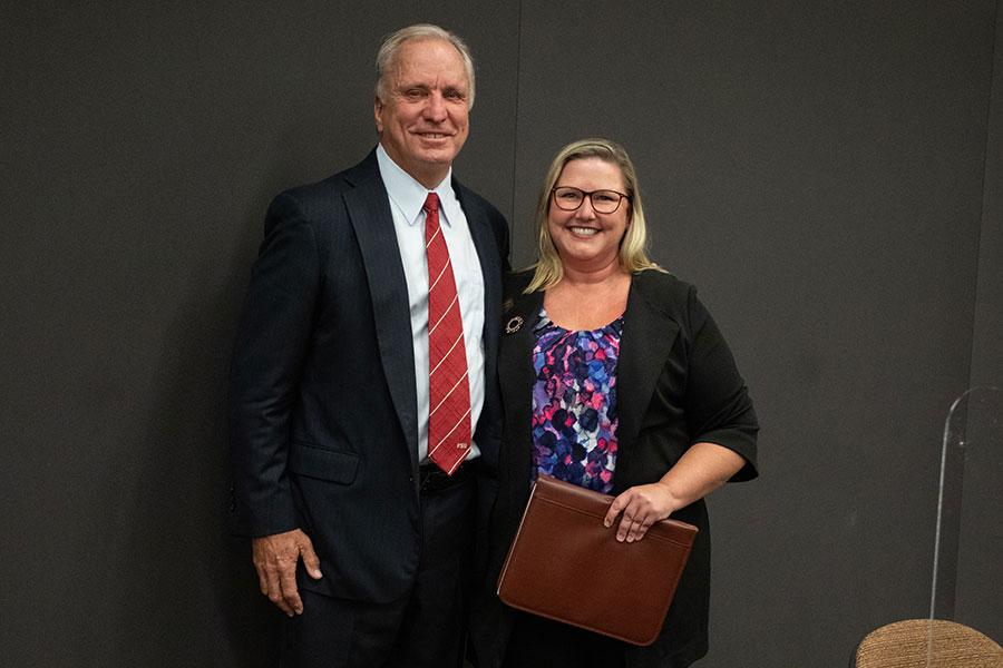 Ed Burr and FSU Alumni Association President Julie Decker at the FSU Board of Trustees meeting Friday, Aug. 27, 2021. (FSU Photography Services)