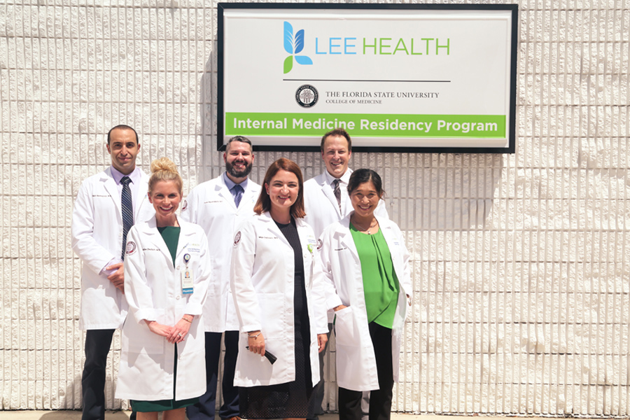 Physician faculty members in the FSU College of Medicine Internal Medicine Residency Program at Cape Coral Hospital/Lee Health. Front row, left to right, Dr. Madeline Deutsch, Dr. Maja Delibasic, Dr. Hannah James. Back row, left to right, Dr. Nabil Benhayoun, Dr. Dustin Begosh-Mayne, Dr. Jordan Taillon. (Florida State University)
