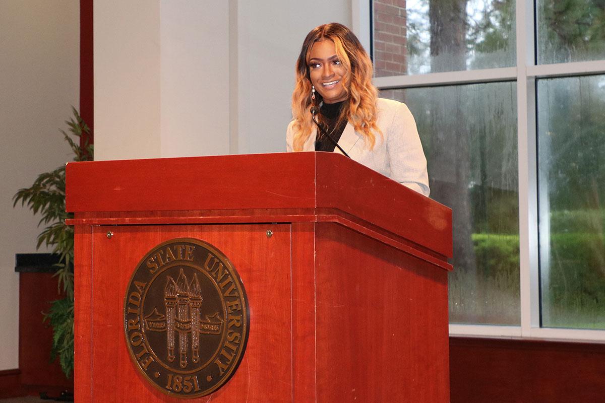 FSU Student Body President Nastassia Janvier speaks at the State of the Student Body